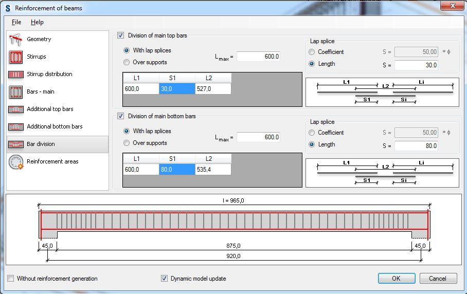 Assegnazione dei valori dei parametri della finestra Bar division