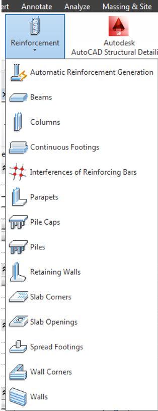 Gli strumenti contenuti nel menu Reinforcement