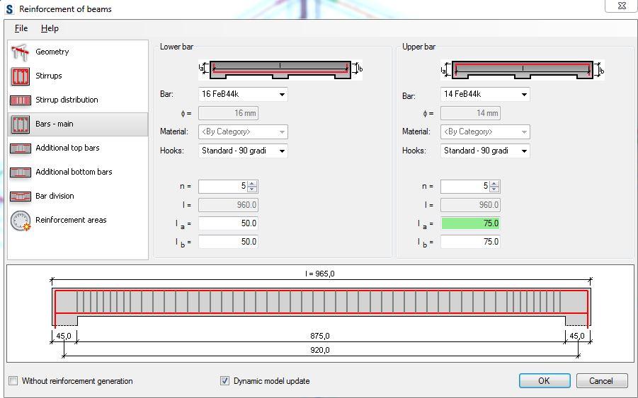 Assegnazione dei valori dei parametri nella scheda Bars - Main
