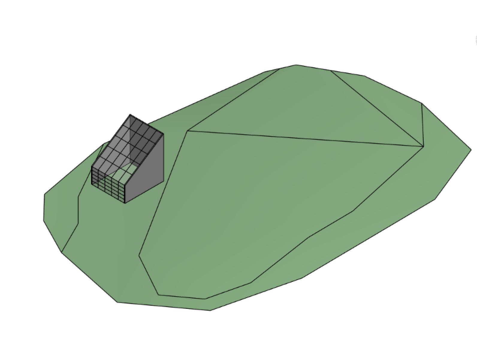 Esempio di massa preliminare posizionata sulla planimetria