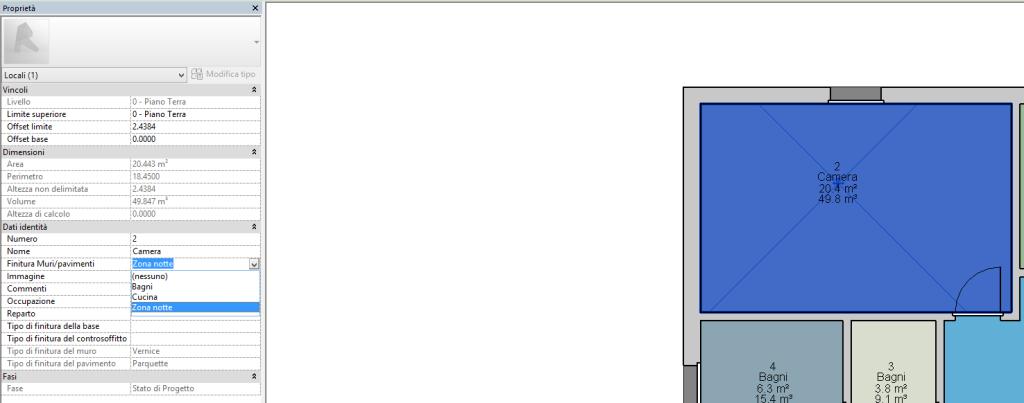 Figura 11 - Assegnazione dei valori al parametro Finitura Muri/pavimenti