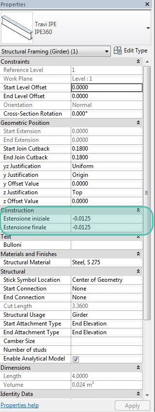 Figura 15 - Modifica dell'estensione di taglio della trave tramite parametro.
