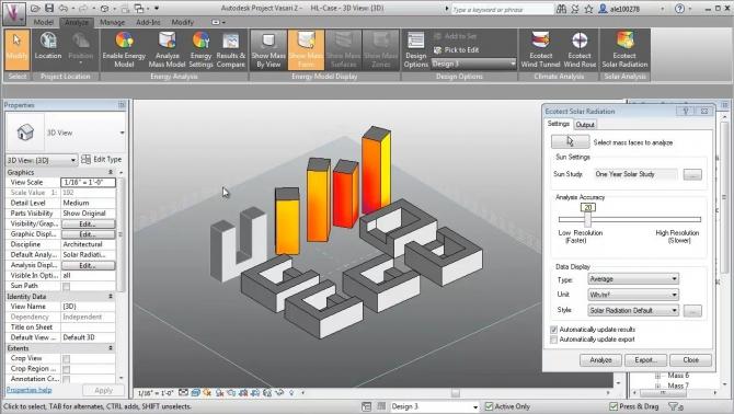 Esempio di site analys con software Vasari - sorgente Autodesk Academy.