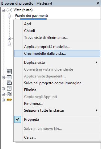 Figura 3 - Creazione di un modello di vista dal browser di progetto.