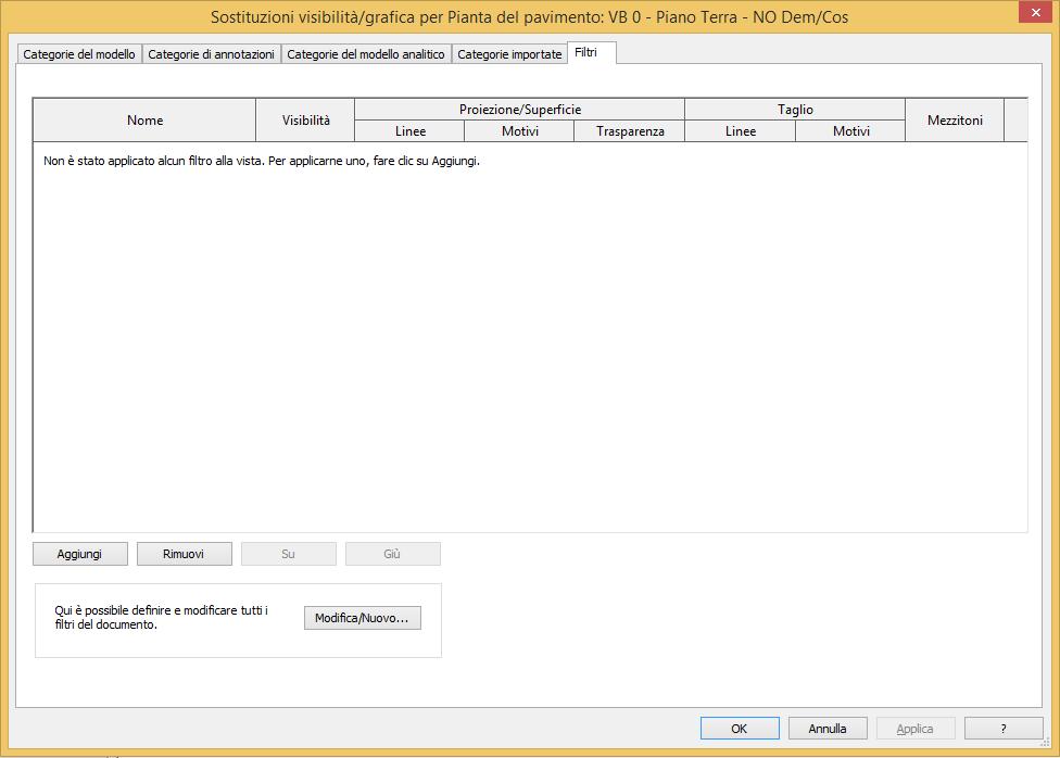 Figura 6 - Scheda filtri della finestra Sostituzione visibilità grafica.