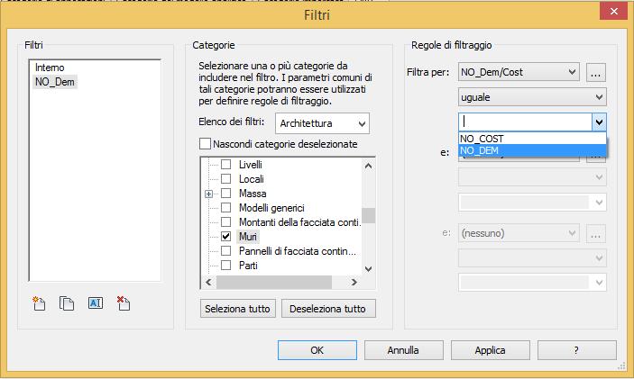 Figura 7 - Creazione del filtro NO_dem
