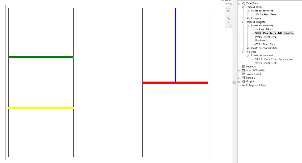 Figura 10 - La vista con l'indicazione cromatica dei falsi costruiti/demoliti.