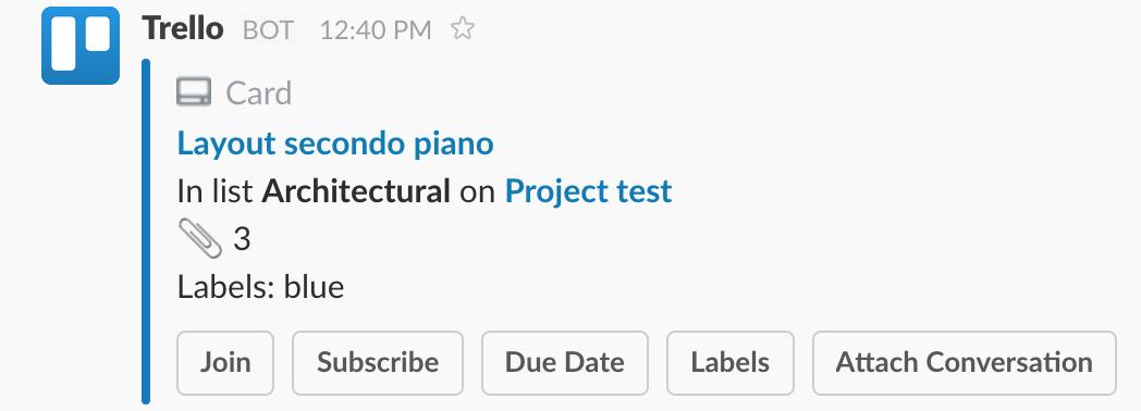 Una scheda di Trello pubblicata su Slack
